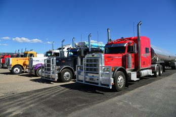 A truck parking lot for semis and tractor trailers